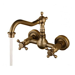Bathroom Sink Faucet - Rotatable Antique Bronze Wall Mounted Two Holes / Two Handles Two HolesBath Taps
