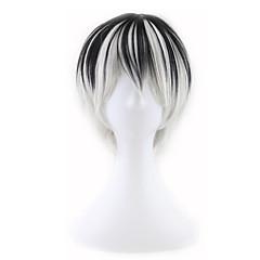 billiga Peruker och hårförlängning-Syntetiska peruker Herr / Dam Rak Vit Syntetiskt hår Vit Peruk Utan lock Svart / Vit