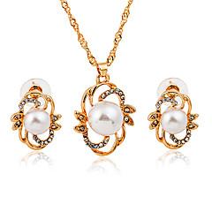 baratos Conjuntos de Bijuteria-Mulheres Conjunto de jóias - Imitação de Pérola, Imitações de Diamante Fashion Incluir Dourado Para Diário / Escritório e Carreira / Brincos
