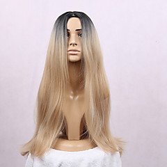 cheap Wigs & Hair Pieces-Synthetic Wig Straight Heat Resistant Middle Part Dark Roots Ombre Hair Blonde Women's Capless Black Wig Long Synthetic Hair