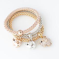 billige -Dame Kæde & Lænkearmbånd Mode Legering Cirkelformet Sølv Gylden Rose Guld Smykker For Bryllup 1 Sæt