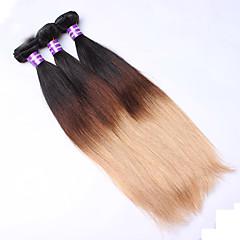 お買い得  グラデーションカラー・ヘアエクステンション-ユーラシアンヘア ストレート クラシック 人間の髪織り 3本 高品質 日常