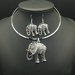 billige Smykke Sett-Dame Fuskediamant Elefant Smykkesett Øreringer / Halskjeder - Luksus / Vintage Sirkelformet / Dyr Sølv Halskjede / Øredobber Til Daglig /