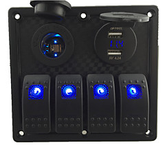 12V-24V DC 4 gang Waterproof marine blue led switch panel with led power socket and 4.2A USB voltmeter