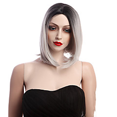 cheap Wigs & Hair Pieces-Synthetic Wig Women's Straight White Synthetic Hair Ombre Hair White Wig Short Black / White