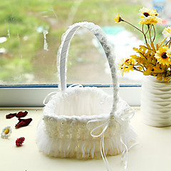 White Heart Shape Lace Decoration Flower Basket for Wedding Party(17*24cm)