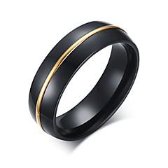 Anéis Fashion Pesta / Diário / Casual Jóias Aço Inoxidável Masculino Anéis Grossos 1pç,7 / 8 / 9 / 10 / 11 Preto