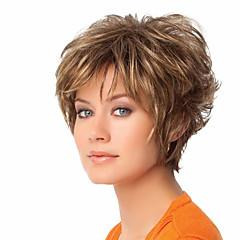 billiga Peruker och hårförlängning-Syntetiska peruker Rak / Naturligt vågigt Asymmetrisk frisyr Syntetiskt hår Naturlig hårlinje Brun Peruk Dam Korta Cosplay Peruk / Kostym