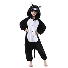 Dětské Pyžama Kigurumi Kočka Pyžamo Onesie polar fleece Černá / Bílá Cosplay Pro Chlapci a dívky Animal Sleepwear Karikatura Halloween Festival / Svátek