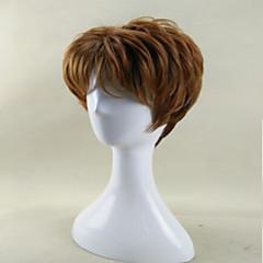 billiga Peruker och hårförlängning-Syntetiska peruker Lockigt Syntetiskt hår Afro-amerikansk peruk Brun Peruk Dam Män peruk Utan lock