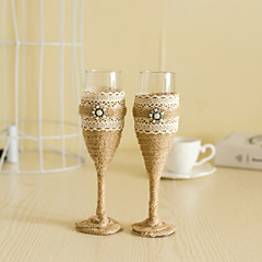 cheap Toasting Flutes-Wedding Accessories with Jute Pearl Sparkling Love Bride Groom Twisted Champagne Glasses Toasting Flutes, Set of 2