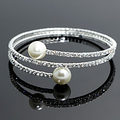 cheap Bracelets-Women's Imitation Pearl Strand Tennis Round Bangles Imitation Pearl Silver Jewelry Wedding Party Special Occasion Anniversary Birthday