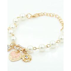 Fashion Sweet Elegant Pearl Bracelet Jewelry Charm Alloy Rhinestone Flower Heart Pendent Bracelet For Women Wholesale