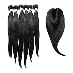cheap Human Hair Weaves-Indian Hair Straight Hair Weft with Closure 6 Bundles with Closure 14-18inch Human Hair Weaves Natural Black