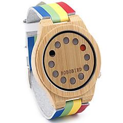 男性用 ファッションウォッチ 腕時計 ウッド リストウォッチ クォーツ 日本産クォーツ / レザー バンド ヴィンテージ 虹色 カジュアル 多色
