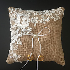cheap Ring Pillows-Champagne 1 Ribbons Faux Pearl Embroidery Linen Wedding Ceremony