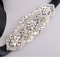 Satin Wedding Party/ Evening Dailywear Sash With Rhinestone Beading Imitation Pearl