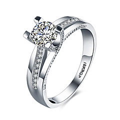Women's Band Rings Statement Rings Love Fashion Synthetic Gemstones Sterling Silver Zircon Cubic Zirconia Imitation Diamond Heart Jewelry