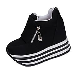 Mulheres Sapatos Tecido Primavera / Outono Saltos Caminhada Salto Plataforma Ziper Preto / Vermelho