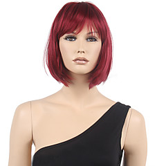 cheap Wigs & Hair Pieces-Synthetic Wig Women's Straight Red Bob / With Bangs Synthetic Hair Red Wig Short Capless Black / Burgundy