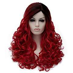 cheap Wigs & Hair Pieces-Synthetic Wig Wavy Synthetic Hair Dark Roots / Side Part Red Wig Women's Medium Length Capless