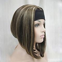 billiga Peruker och hårförlängning-Syntetiska peruker Rak / Kinky Rakt Syntetiskt hår Brun Peruk Dam Utan lock Beige