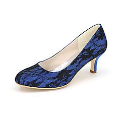 Topuklular-Düğün / Parti ve Gece-Topuklu / Yuvarlak Burun-İpek-Stiletto Topuk-Siyah / Mavi / Pembe / Ekru / Beyaz-Kadın