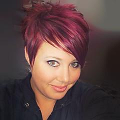 cheap Wigs & Hair Pieces-Human Hair Capless Wigs Human Hair Straight Pixie Cut / With Bangs Side Part Short Wig Women's