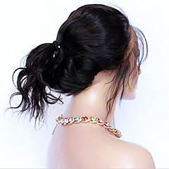 billiga Peruker och hårförlängning-360 Frontal Kroppsvågor 360 Fasad Fransk spets Äkta hår Fria delen Mittparti 3 Del