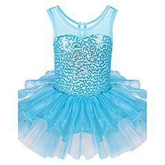 baratos Roupas de Meninas-Menina de Vestido Esportes Todas as Estações Sem Manga Com Babado Azul Claro