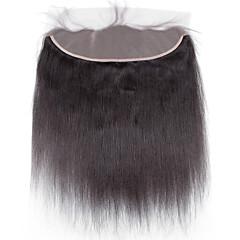 billiga Peruker och hårförlängning-4x13 Stängning Rak / Yaki Fria delen / Mittparti / 3 Del Schweizisk spetsperuk Äkta hår