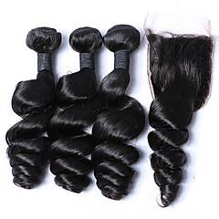 ieftine Un pachet de păr-Păr Malayezian Ondulee Largi Bătătură de par cu închidere 3 pachete cu închidere 12-26 inch Umane Țesăturile de par Negru Umane extensii de par
