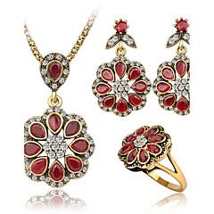 baratos Conjuntos de Bijuteria-Mulheres Zircônia cúbica Ruby Sintético Conjunto de jóias - Luxo Incluir Vermelho Para Casual / 3pçs