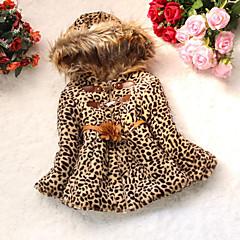 billige Jenteklær-Baby Jente Dyremønster Leopard Langermet Bomull Dun- og bomullsfôret