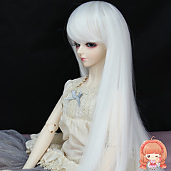 cheap Wigs & Hair Pieces-Synthetic Wig Women's Straight Synthetic Hair Wig White miss u hair / Doll Wig / Yes