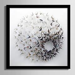 baratos Quadros com Moldura-Abstrato Animal Quadros Emoldurados Conjunto Emoldurado Wall Art,PVC Material Preto Sem Cartolina de Passepartout com frame For Decoração