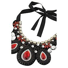 お買い得  ファッションネックレス-女性用 ドロップ カラー ステートメントネックレス  -  タッセル ボヘミアンスタイル ステートメント ブラック レッド ネックレス 用途 カジュアル