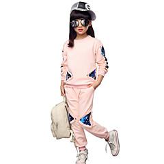 billige Tøjsæt til piger-Børn Pige Blomster Ternet / Broderi Langærmet Kort Kort Bomuld Tøjsæt