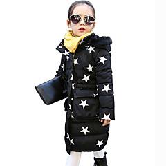 billige Jakker og frakker til piger-Børn / Baby Pige Blonde / Pænt tøj Daglig / Skole / I-byen-tøj Blomstret / Patchwork Langærmet Lang Polyester dun- og bomuldsforet Hvid