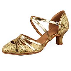 Mulheres Sapatos de Dança Latina / Sapatos de Salsa Paetês / Couro Envernizado / Courino Sandália / Salto Presilha Salto Cubano