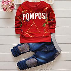 baratos Roupas de Meninos-Bébé Para Meninos Roupas de Festa Formal Estampado Manga Longa Padrão Jeans Azul Marinho