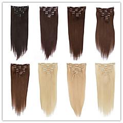 Χαμηλού Κόστους Εξτένσιονς μαλλιών με κλιπ-Κουμπωτό Επεκτάσεις ανθρώπινα μαλλιών Ίσιο Εξτένσιον από Ανθρώπινη Τρίχα Φυσικά μαλλιά Γυναικεία