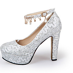 Women's Heels Spring Summer Fall Glitter Wedding Casual Party & Evening Chunky Heel Block Heel Crystal Flower Gold White Red