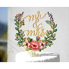 cheap Cake Toppers-Cake Topper Garden Theme Floral Theme Classic Theme Vintage Theme Classic Couple Acryic/Polyester Wedding Anniversary with # Poly Bag