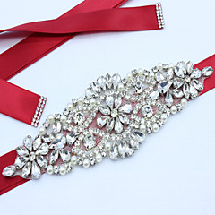 cheap Party Sashes-Satin Wedding Party / Evening Dailywear Sash With Rhinestone Beading Imitation Pearl Appliques Women's Sashes