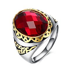 Herre Ring Mote Syntetiske Edelstener Rustfritt Stål Titanium Stål Glass Sirkelformet Geometrisk Form Smykker Til Fest Daglig Avslappet