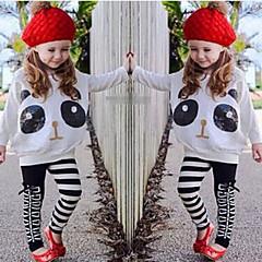 billige Tøjsæt til piger-Baby Pige Tegneserie / Dyretryk Trykt mønster Langærmet Normal Bomuld / Polyester / Spandex Tøjsæt Hvid 100