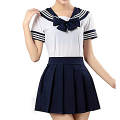 Inspired by Sailor Moon Schoolgirls Anime Cosplay Costumes Cosplay Suits Striped Short Sleeve Shirt / Skirt For Girls' Halloween Costumes