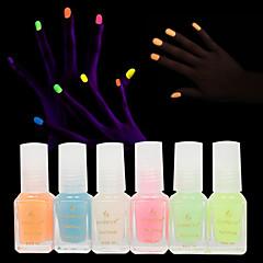 6pcs Fashion Jelly Glow Nail Polish Luminous Nail Polish