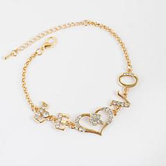 Bracelet Chain Bracelet Tennis Bracelet Alloy Rhinestone Heart Inspirational Birthday Gift Daily Casual Jewelry Gift Gold Silver,1pc